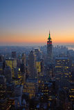 Panorama di Manhattan al tramonto, New York Fotografie Stock