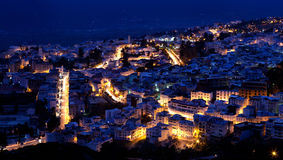 Panorama di Medina blu di Chefchaouen, Marocco Immagini Stock Libere da Diritti