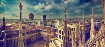 Panorama di Milano, Italia Fotografie Stock Libere da Diritti