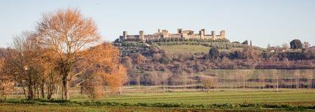 Panorama di Monteriggioni, Toscana, Italia Fotografia Stock Libera da Diritti