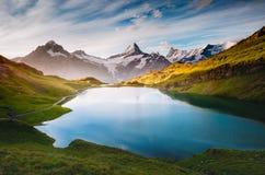 Panorama di Mt Schreckhorn e Wetterhorn sopra il lago Bachalpsee Immagini Stock Libere da Diritti