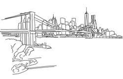 Panorama di New York con il ponte di Brooklyn Immagine Stock