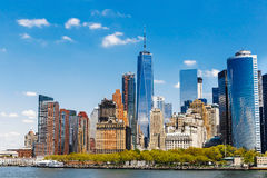 Panorama di New York con l'orizzonte di Manhattan Fotografia Stock