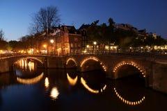 Panorama di notte del canale Fotografia Stock