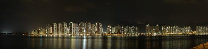 Panorama di notte del porto di Tolo, Hong Kong Immagini Stock Libere da Diritti