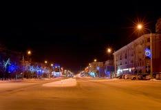 Panorama di notte del viale di Lenin Fotografie Stock
