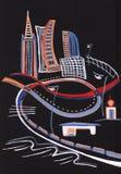 Panorama di notte della città moderna illustrazione di stock