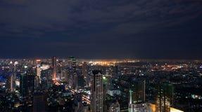 Panorama di notte di Bangkok Fotografie Stock Libere da Diritti
