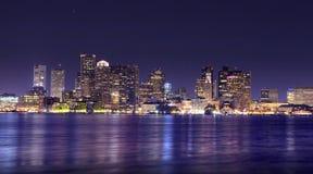 Panorama di notte di Boston Immagini Stock