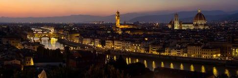Panorama di notte di Firenze Fotografie Stock Libere da Diritti