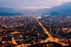 Panorama di notte di Grenoble Fotografia Stock Libera da Diritti