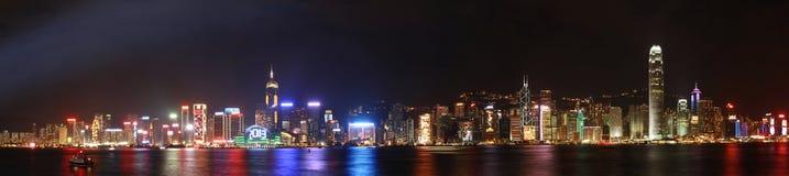 Panorama di notte di Hong Kong Immagine Stock
