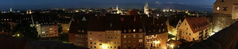 Panorama di notte di Norimberga Fotografia Stock Libera da Diritti
