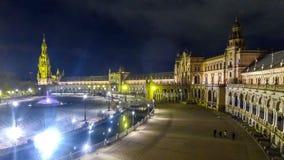 Panorama di notte di Plaza de Espana in Siviglia, Spagna archivi video