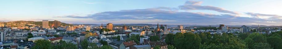 panorama di Oslo di sera Fotografia Stock