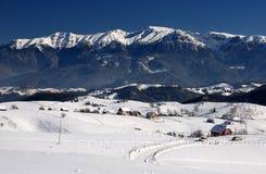 Panorama di paesaggio delle montagne di Bucegi in Romania Fotografia Stock Libera da Diritti