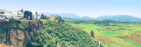 Panorama di paesaggio nel rondò in Spagna Immagini Stock Libere da Diritti