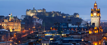 Panorama di paesaggio urbano di Edinburgh Fotografie Stock Libere da Diritti