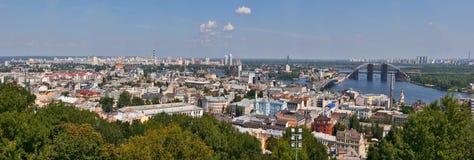 Panorama di paesaggio urbano di Kiev Fotografia Stock