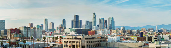 Panorama di paesaggio urbano di Los Angeles fotografia stock libera da diritti