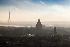 Panorama di paesaggio urbano di Riga Fotografia Stock
