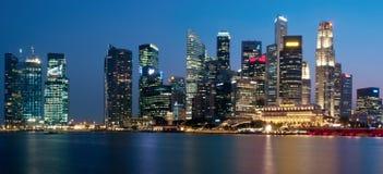 Panorama di paesaggio urbano di Singapore Fotografie Stock