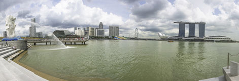 Panorama di paesaggio urbano di Singapore Fotografia Stock