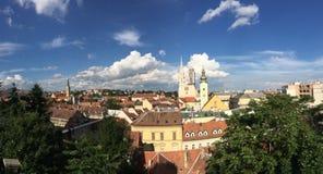 Panorama di panoramica della città di Zagabria Fotografia Stock