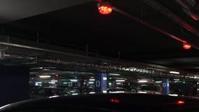 Panorama di parcheggio sotterraneo stock footage