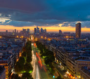 Panorama di Parigi al tramonto Fotografia Stock