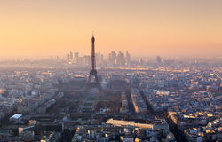 Panorama di Parigi al tramonto Fotografia Stock Libera da Diritti