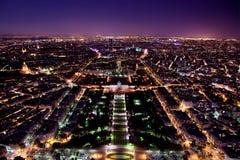 Panorama di Parigi, Francia alla notte. Immagini Stock Libere da Diritti
