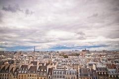 Panorama di Parigi, Francia con la Torre Eiffel Immagini Stock Libere da Diritti