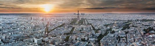 Panorama di Parigi - Torre Eiffel e costruzioni Immagine Stock Libera da Diritti