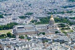 Panorama di Parigi, vista del DES Invalides dell'hotel dalla cima del Fotografia Stock Libera da Diritti