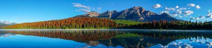 Panorama di Patricia Lake in Jasper National Park immagine stock