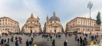 Panorama di Piazza del Popolo, a Roma fotografia stock