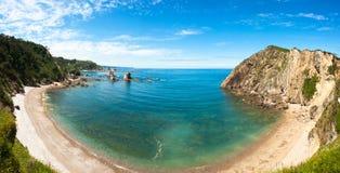 Panorama di Playa del Silencio, Asturie, Spagna Fotografia Stock