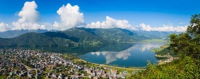 Panorama di Pokhara Immagini Stock