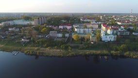 Panorama di Polatsk, video aereo di aprile belarus video d archivio
