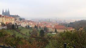 Panorama di Praga in autunno Fotografie Stock Libere da Diritti