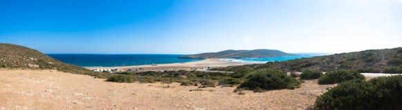Panorama di Prasonisi, isola di Rodi, Grecia Fotografie Stock Libere da Diritti