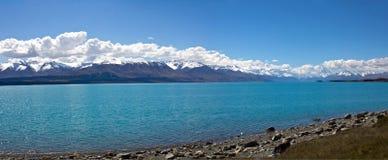 Panorama di pukaki della Nuova Zelanda, lago Fotografia Stock