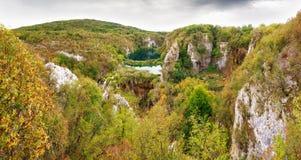 Panorama di punto di vista di Plitvice Fotografia Stock