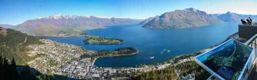 Panorama di Queenstown Nuova Zelanda Fotografia Stock