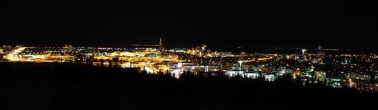 Panorama di Reykjavik di notte Fotografia Stock