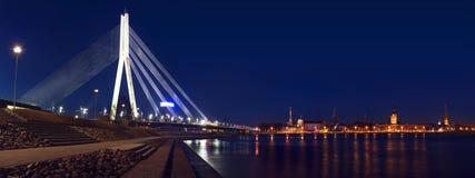 Panorama di Riga con il ponte fotografia stock libera da diritti