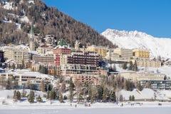 Panorama di Sankt Moritz durante l'inverno Fotografia Stock Libera da Diritti