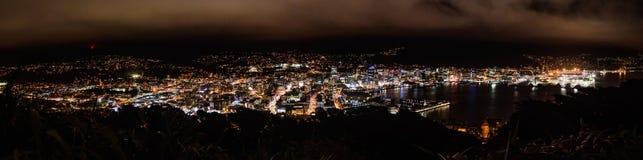 Panorama di scena di notte di Wellington Fotografie Stock