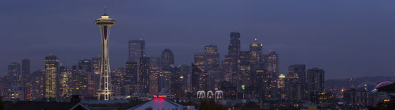Panorama di Seattle al crepuscolo. Fotografia Stock